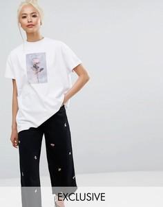 Oversize-футболка с принтом розы Lazy Oaf - Белый