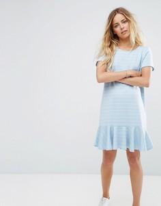Платье-футболка в полоску с оборкой по краю Vila - Синий