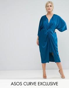 Платье-кимоно миди с перекрутом ASOS CURVE - Синий