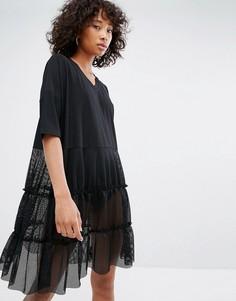 Платье с V-образным вырезом и сетчатой юбкой Noisy May - Черный