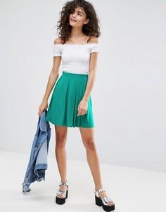 Расклешенная мини-юбка со складками ASOS - Зеленый