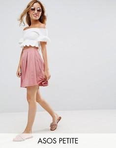 Короткая расклешенная юбка со складками ASOS PETITE - Розовый