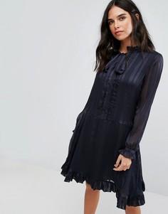 Платье с длинными рукавами и бантом Y.A.S - Темно-синий