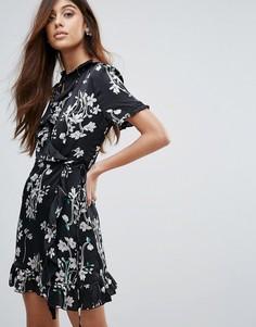 Платье с запахом и цветочным принтом Vero Moda - Черный