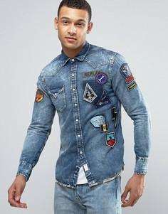 Джинсовая рубашка классического кроя с нашивками Replay - Синий
