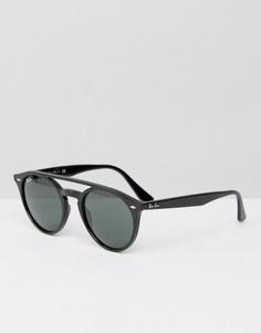 Черные круглые солнцезащитные очки с двойной планкой сверху Ray-Ban 0RB4279 - Черный