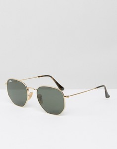 Золотистые круглые солнцезащитные очки Ray-Ban 0RB3548N - Золотой