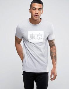 Обтягивающая футболка с японским принтом ASOS - Серый