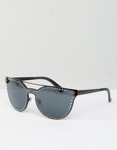 Солнцезащитные очки кошачий глаз с металлической планкой и заклепками Versace - Черный