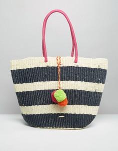 Соломенная сумка в полоску с разноцветными помпонами Nali - Мульти