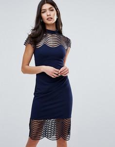 Платье-футляр с решетчатой отделкой Lipsy - Черный