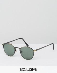 Круглые черные солнцезащитные очки Reclaimed Vintage эксклюзивно для ASOS - Черный