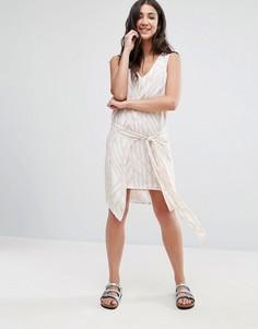 Платье с запахом и принтом Neon Rose - Мульти