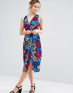 Летнее платье миди с цветочным принтом Closet London - Оранжевый