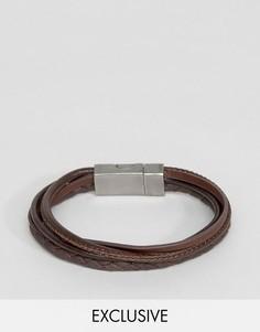 Коричневый кожаный браслет Seven London - Коричневый