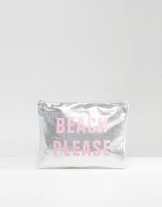 Клатч с принтом Beach Please и эффектом металлик South Beach - Розовый