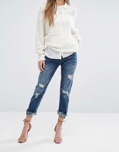 Укороченные джинсы с необработанным краем и прорехами Blank NYC - Синий