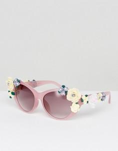 Солнцезащитные очки с цветочной отделкой в стиле ретро Jeepers Peepers - Розовый