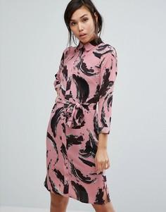 Платье-рубашка миди с графическим принтом Vesper - Розовый