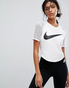 Кроп-топ с сетчатыми вставками Nike - Белый