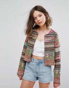 Куртка с вышивкой Glamorous - Коричневый