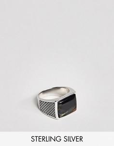 Серебряное кольцо-печатка с тигровым глазом Seven London - Серебряный