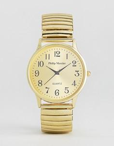 Часы с золотистым ремешком и циферблатом Philip Mercier - Золотой