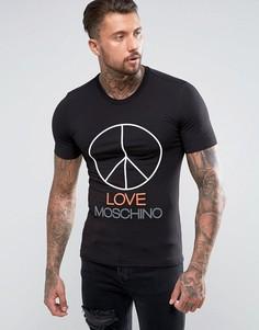 Футболка с принтом Love Moschino Peace - Черный