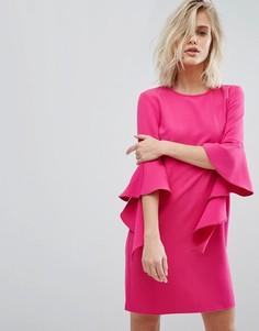 Свободное платье с рукавами клеш Miss Selfridge - Розовый
