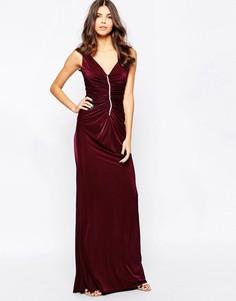 Платье макси с отделкой стразами и сборками City Goddess - Красный