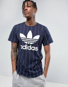 Темно-синяя футболка в тонкую полоску adidas Originals Tokyo Pack BK2234 - Темно-синий
