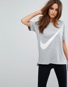 Серая футболка с логотипом-галочкой Nike - Серый