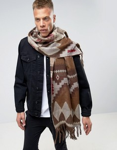 Коричневый шарф-накидка с ацтекским узором ASOS - Коричневый