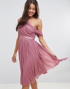 Платье миди для выпускного на одно плечо с лентой ASOS - Фиолетовый