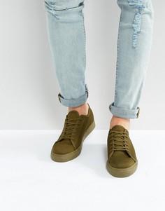 Сетчатые кеды цвета хаки со шнуровкой ASOS - Зеленый