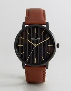 Часы с коричневым кожаным ремешком Nixon Porter - Рыжий