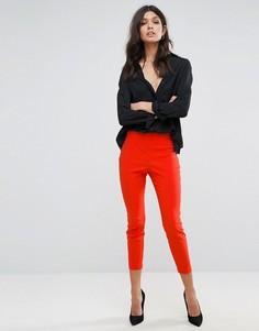 Укороченные зауженные брюки с завышенной талией ASOS - Оранжевый