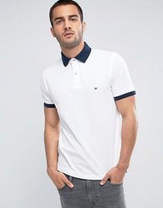 Белое поло узкого кроя с контрастными манжетами и логотипом Tommy Hilfiger - Белый
