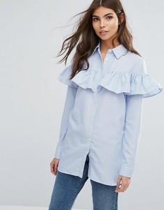 Длинная рубашка с оборкой Unique21 - Синий
