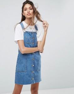 Джинсовое выбеленное платье мини на пуговицах ASOS - Синий