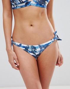 Плавки бикини в полоску с принтом пальм ASOS FULLER BUST - Мульти