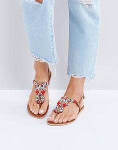 Кожаные сандалии с декоративной отделкой Pieces - Рыжий