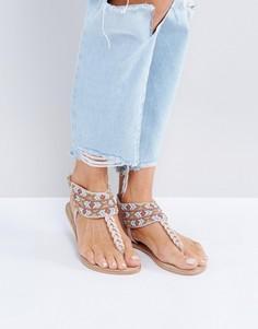 Кожаные сандалии телесного цвета с отделкой бисером Pieces - Бежевый