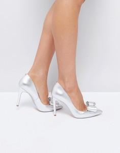 Серебристые кожаные туфли-лодочки с бантиками Ted Baker Azeline - Серебряный