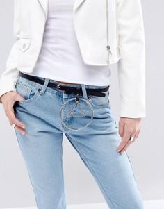 Ремень для джинсов с круглой подвеской ASOS - Черный
