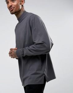 Черная выбеленная oversize-футболка с длинными рукавами летучая мышь ASOS - Черный