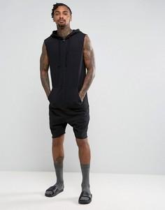 Черный комбинезон-шорты без рукавов с капюшоном ASOS - Черный