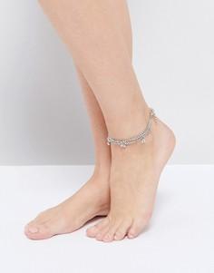 Браслет на ногу с металлической отделкой ASOS - Серебряный