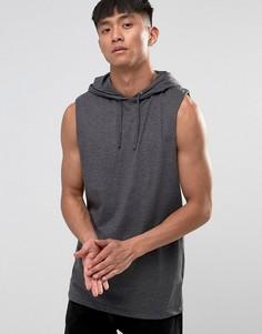 Серая длинная футболка без рукавов с капюшоном ASOS - Серый