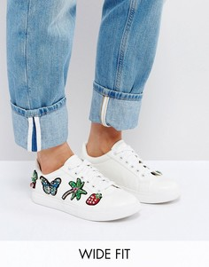Кроссовки для ширококй стопы с нашивками ASOS DIAMOND - Белый